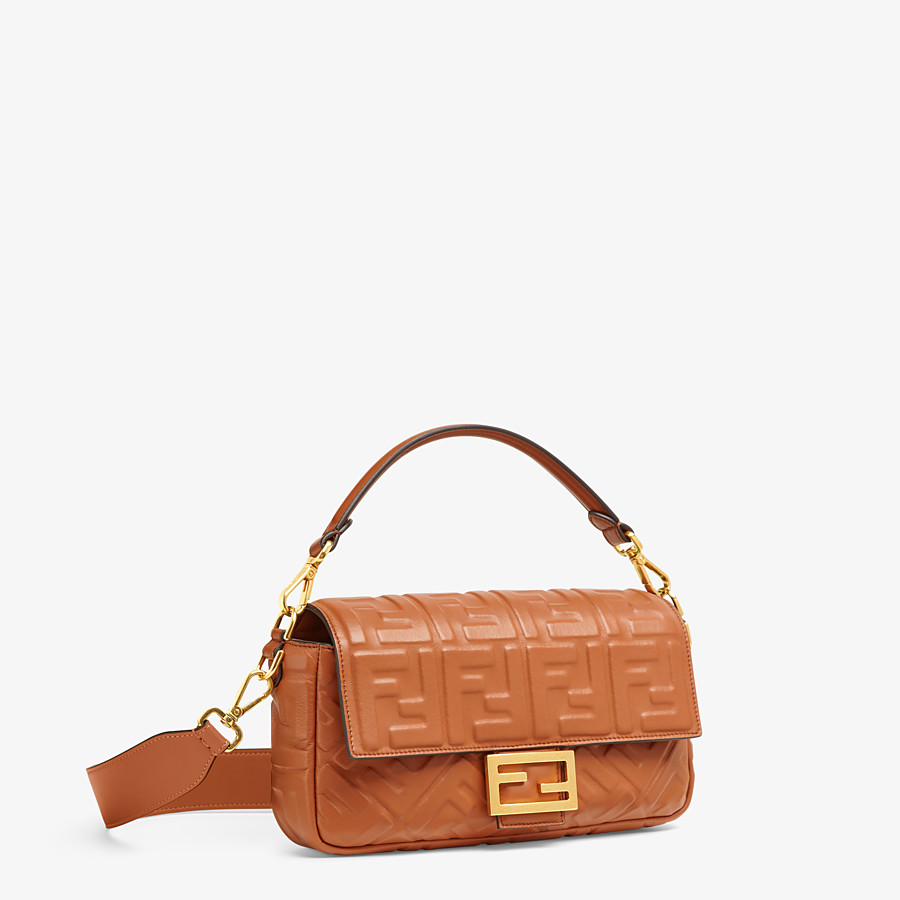 FENDI BAGUETTE - Brown nappa leather bag - view 3 detail