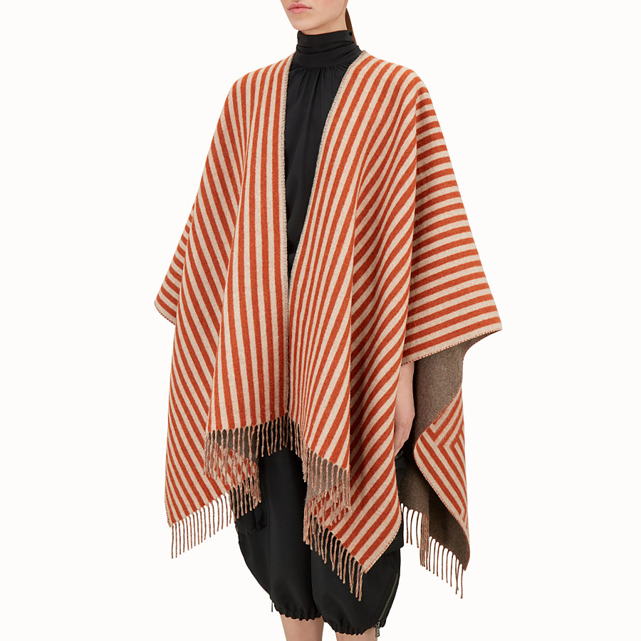 FENDI FENDI STRIPY PONCHO - Red wool and cashmere poncho - view 2 detail