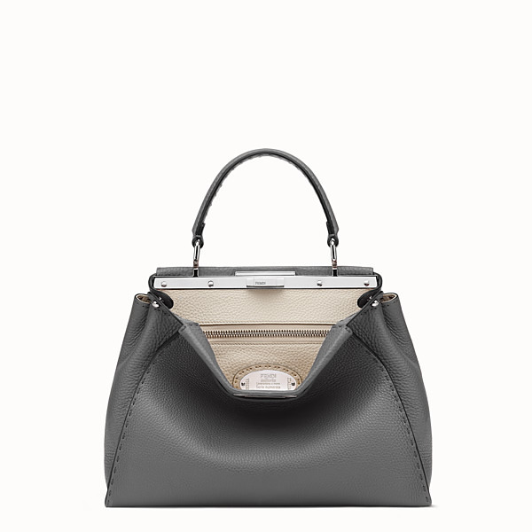 FENDI PEEKABOO ICONIC MEDIUM - Handbag in grey Roman leather - view 1 small thumbnail