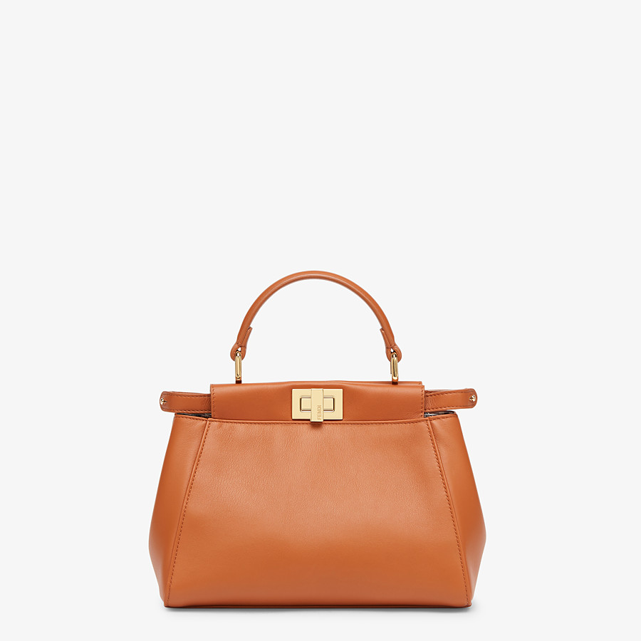 FENDI PEEKABOO ICONIC MINI - Brown nappa leather bag - view 1 detail