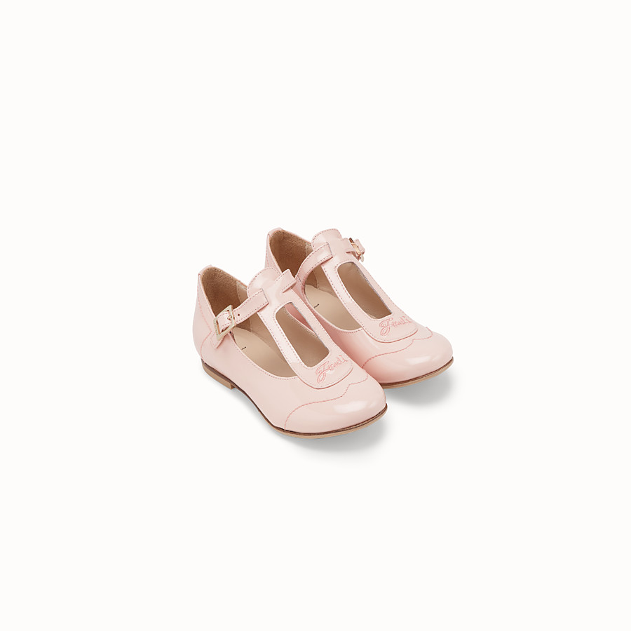 FENDI BALLERINAS - Pink patent leather first steps chameleon ballerinas - view 2 detail