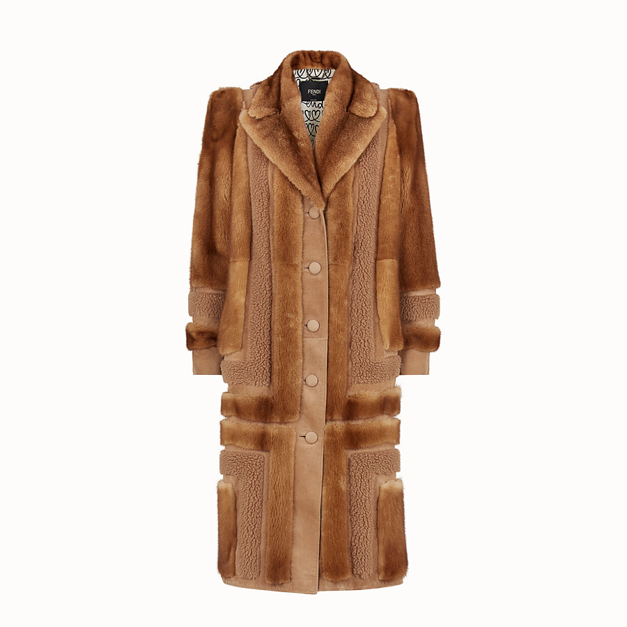 FENDI COAT - Brown fur coat - view 1 detail