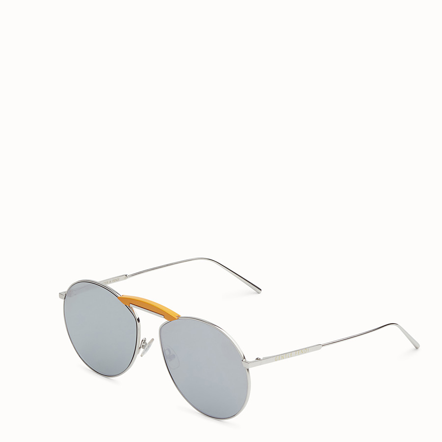 FENDI SUNGLASSES - Palladium-coloured sunglasses - view 2 detail