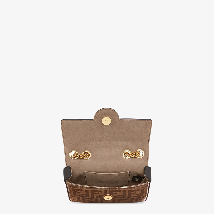 FENDI MINI DOUBLE F - Brown canvas bag - view 4 detail
