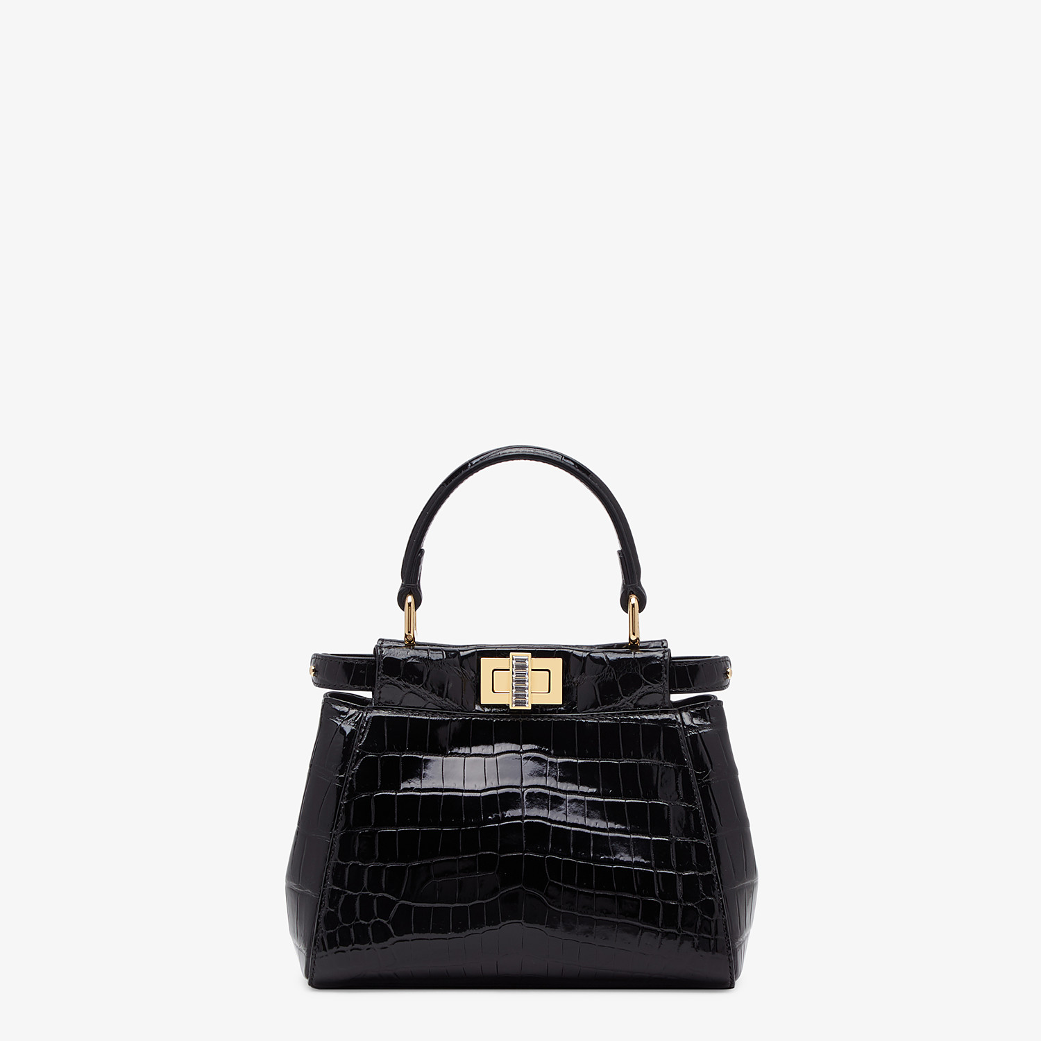 FENDI PEEKABOO ICONIC XS - Mini-bag in black crocodile - view 1 detail