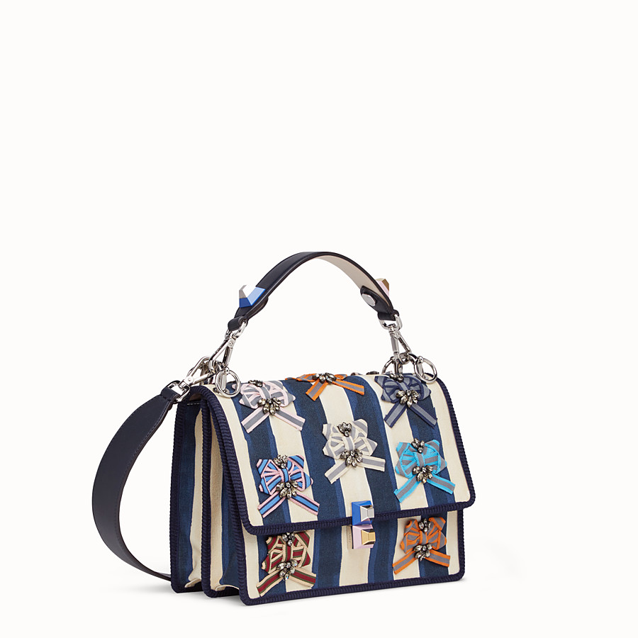 FENDI KAN I - Bag in striped fabric and bows - view 2 detail