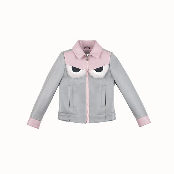 FENDI JACKET - in grey and pink leather - view 1 small thumbnail