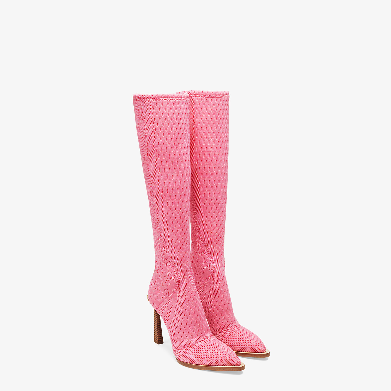 FENDI BOOTS - High-tech, pink jacquard boots - view 4 detail