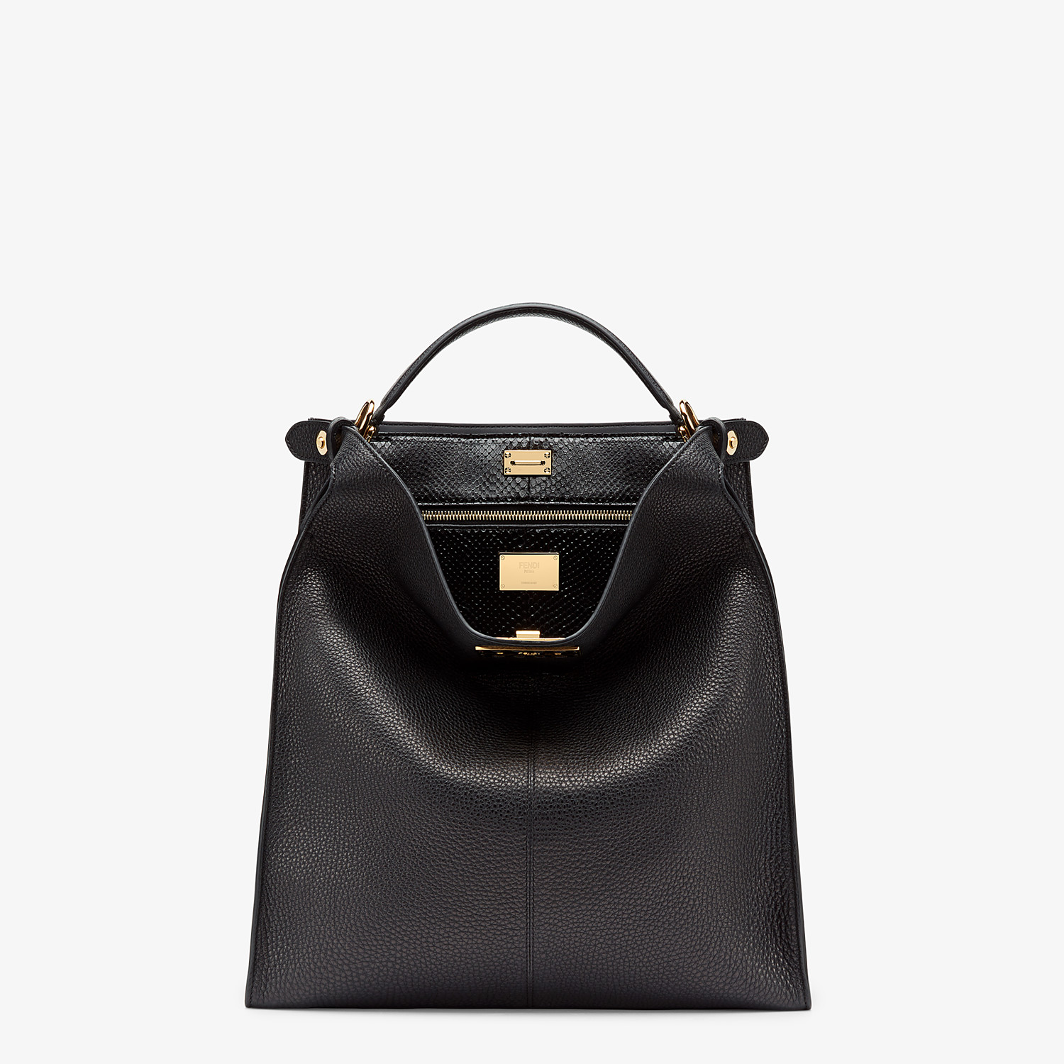 FENDI PEEKABOO X-LITE FIT - Black Romano leather bag - view 2 detail