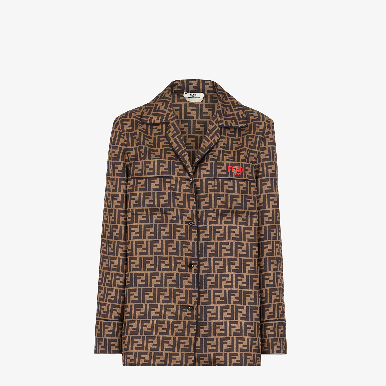 FENDI SHIRT - Brown twill shirt - view 1 detail