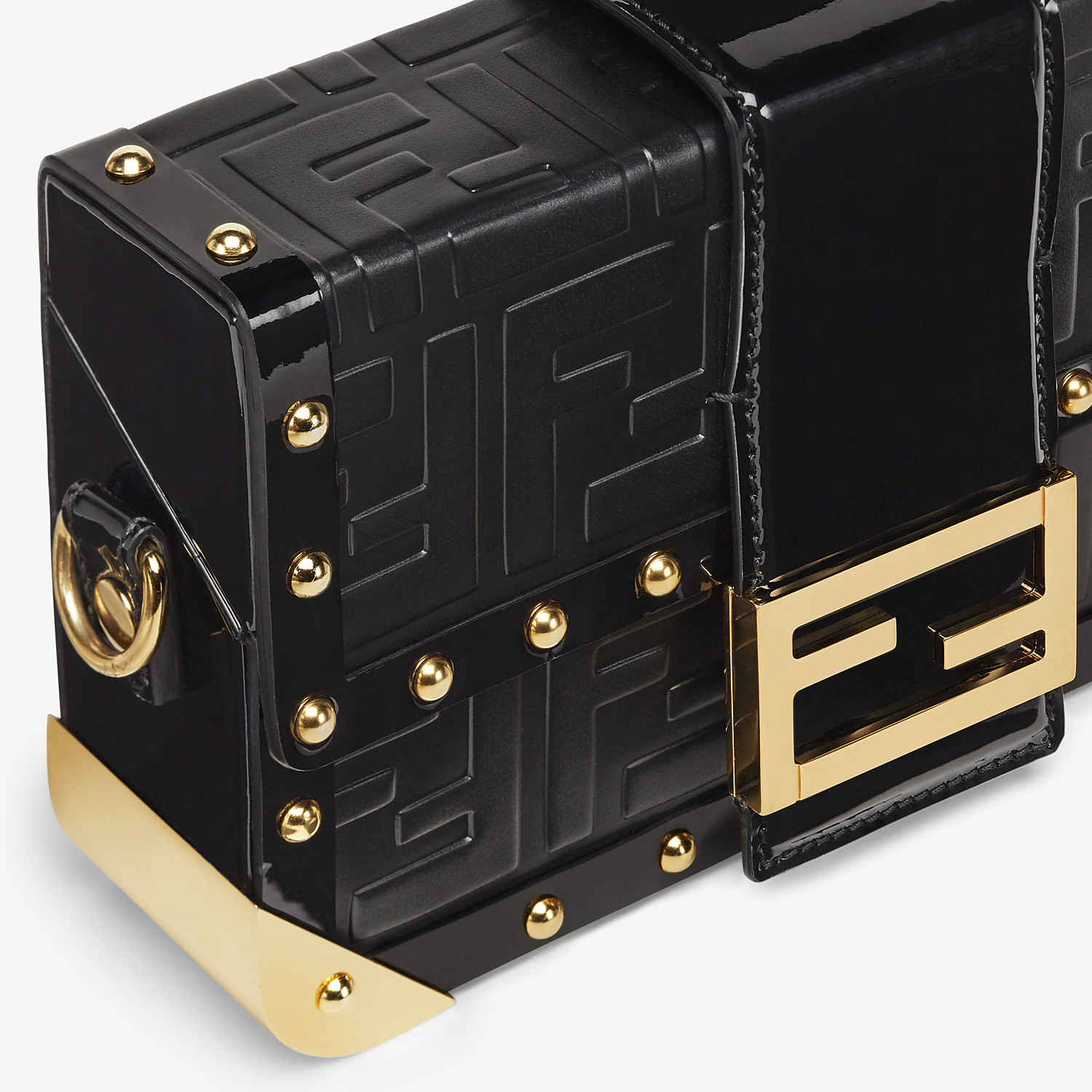 FENDI BAGUETTE TRUNK MINI - Black leather bag - view 5 detail