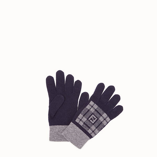 FENDI GLOVES - Blue wool gloves - view 1 small thumbnail