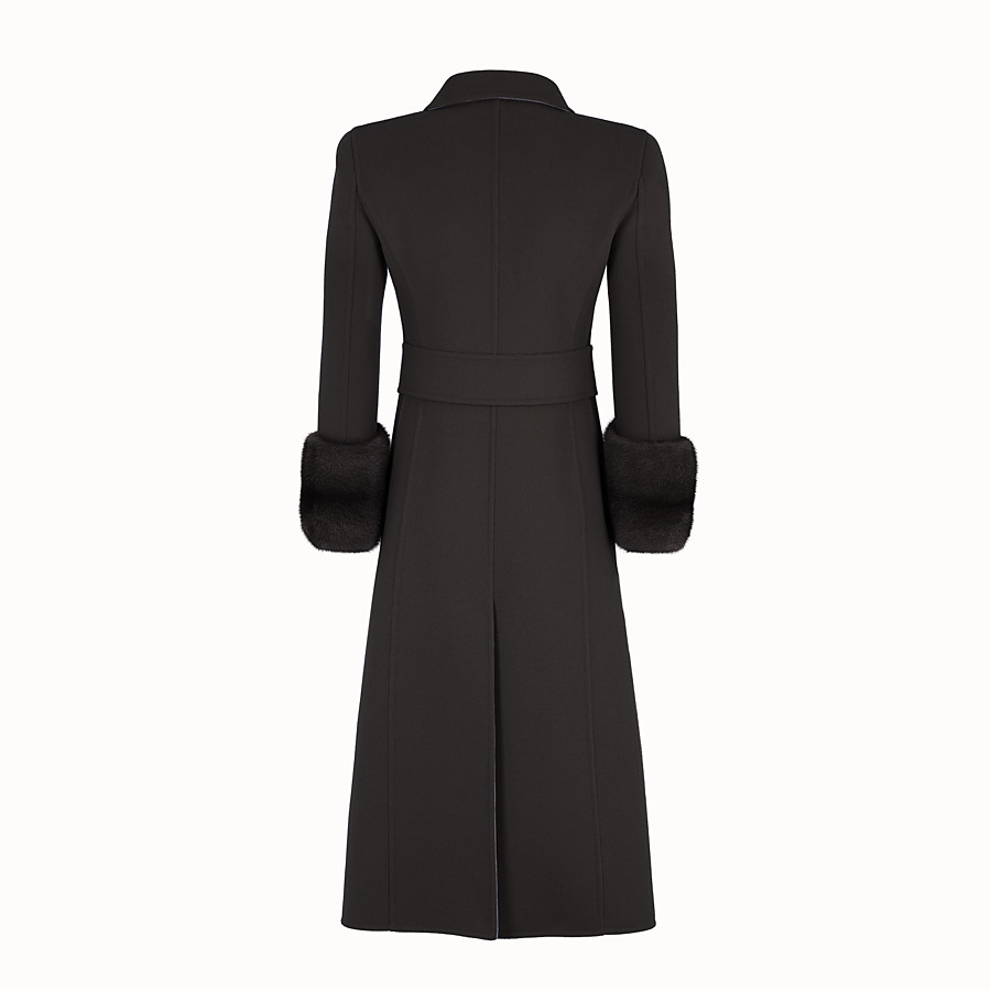 FENDI OVERCOAT - Black wool overcoat - view 2 detail