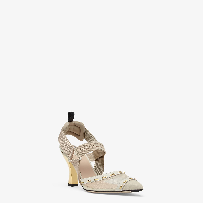 FENDI COLIBRÌ - Pink mesh, high-heel slingbacks with metal stitches - view 2 detail