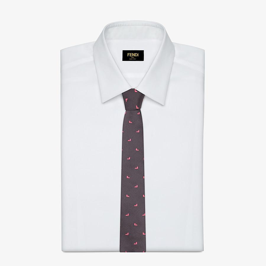 FENDI TIE - Gray silk necktie - view 2 detail