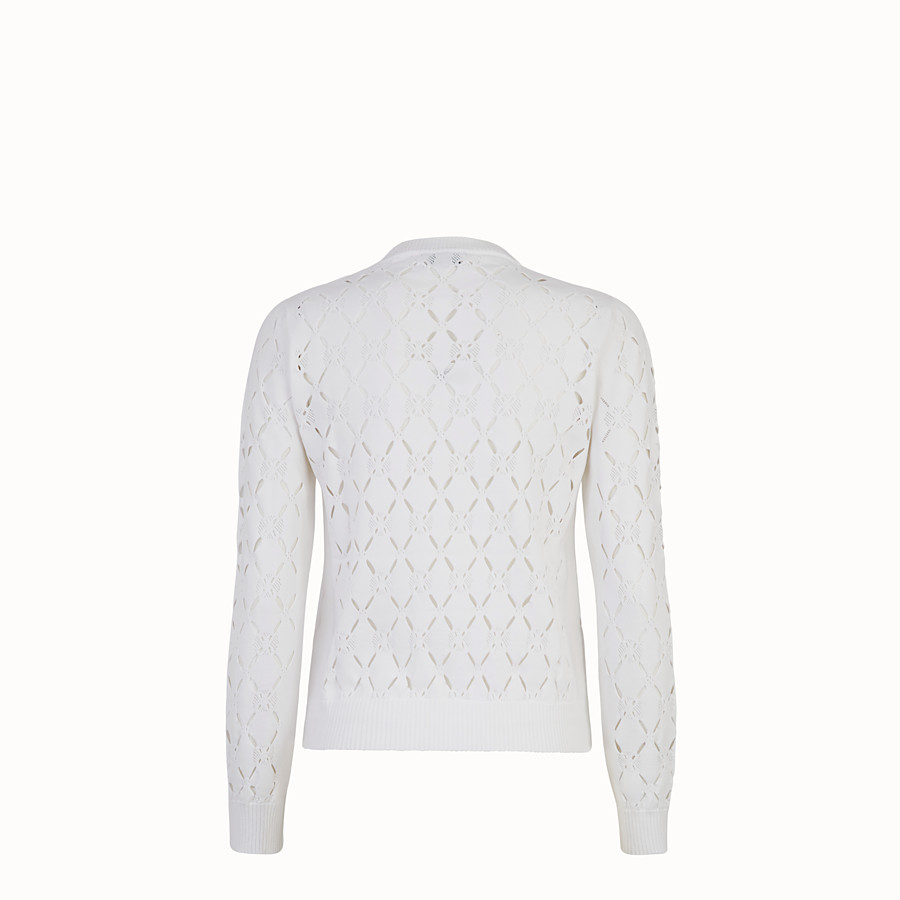 FENDI PULLOVER - White fabric sweater - view 2 detail