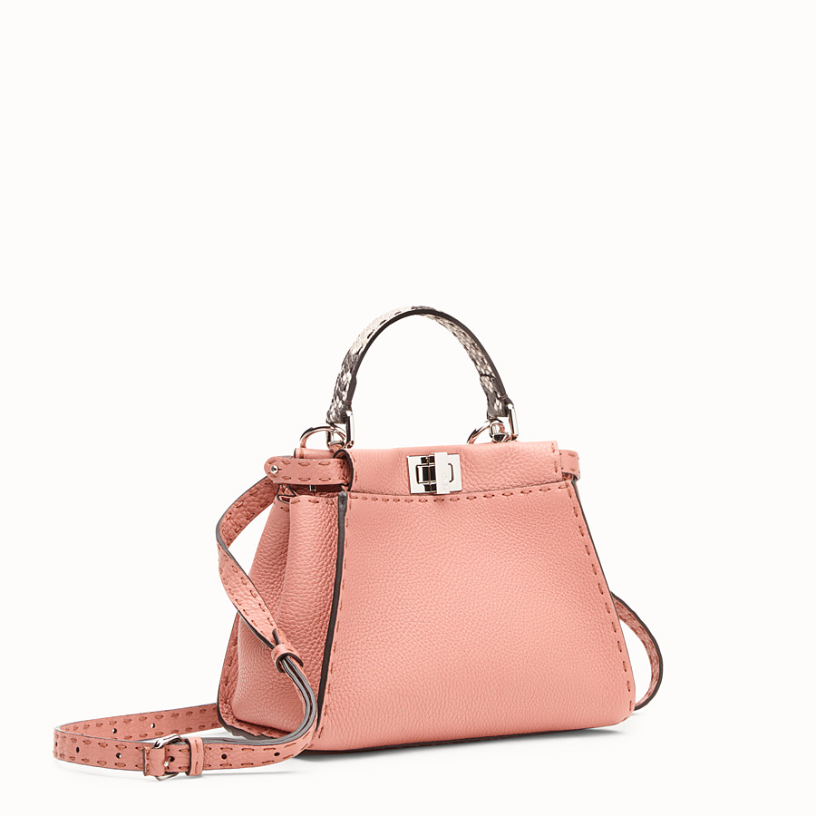 FENDI PEEKABOO MINI - Pink leather bag with exotic details - view 2 detail