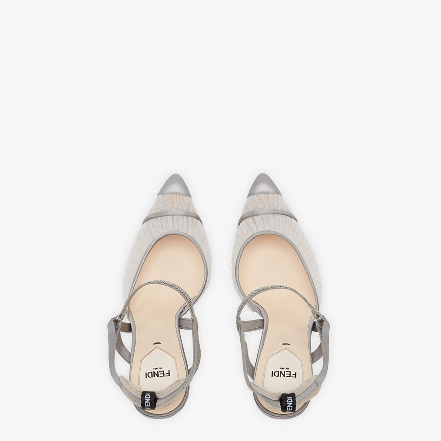 FENDI SLINGBACKS - Gray tulle and satin Colibrì slingbacks - view 4 detail