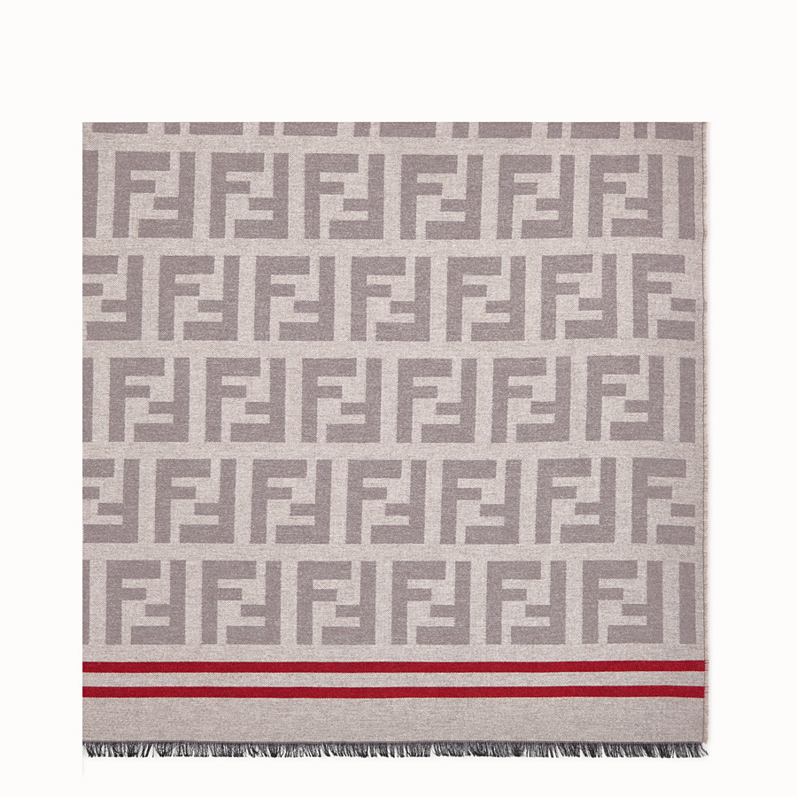 FENDI PLAID - Beige wool and silk plaid throw - view 1 detail