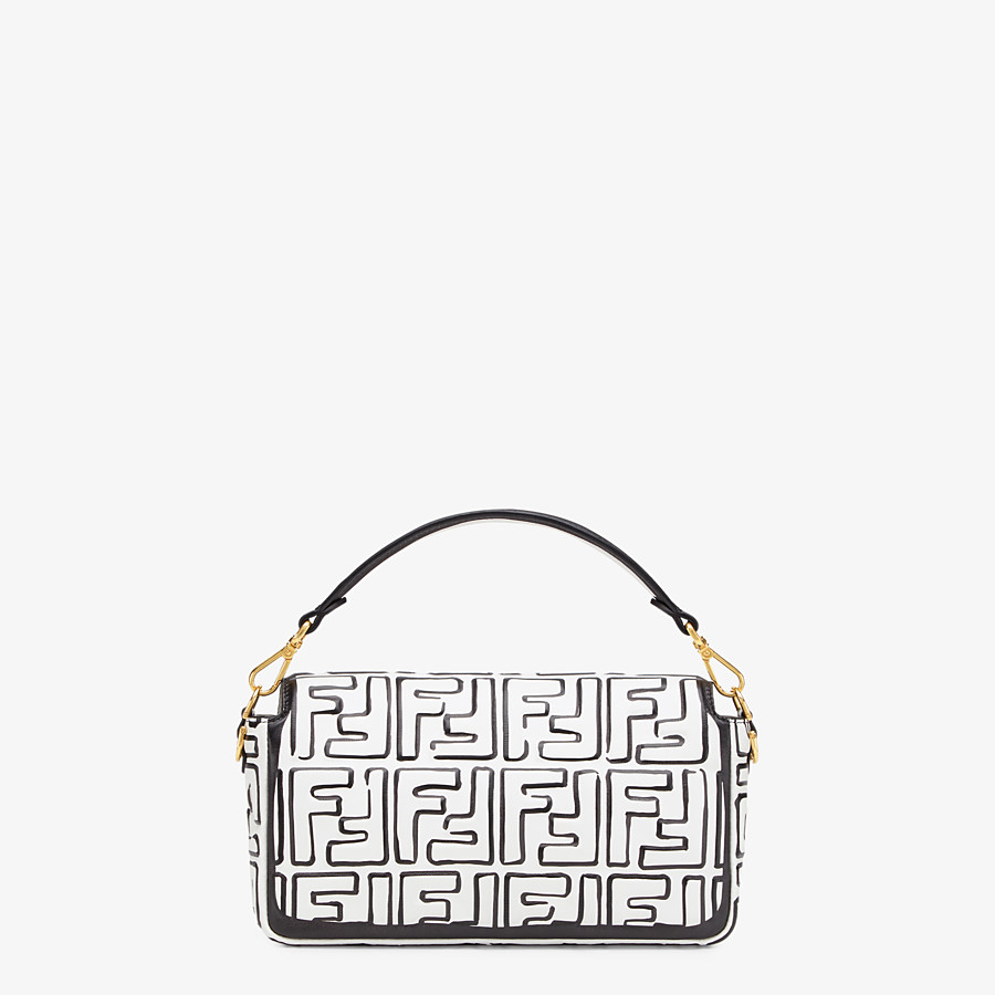 FENDI BAGUETTE - White nappa leather FF print bag - view 4 detail