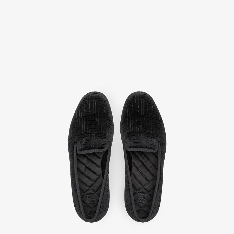 FENDI SLIPPERS - Black velvet slippers - view 4 detail