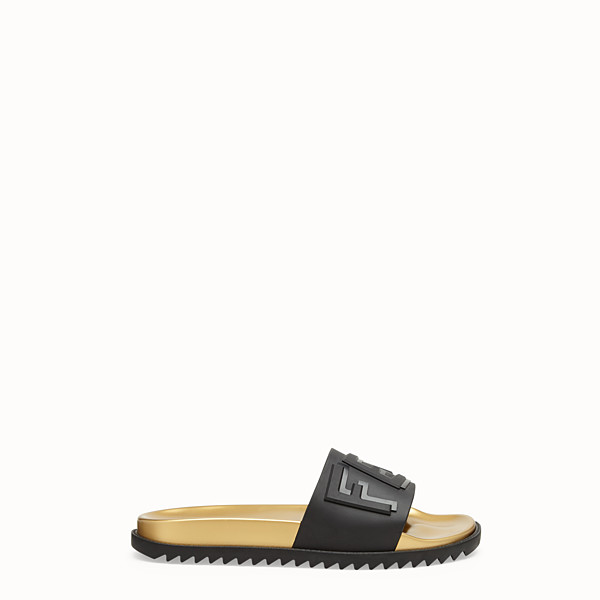 FENDI SLIDES - Black TPU fussbett sandals - view 1 small thumbnail