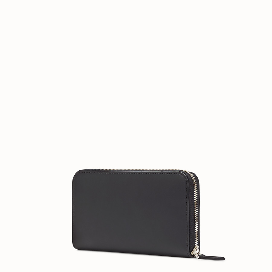 FENDI WALLET - Smooth black leather zip-around wallet - view 2 detail