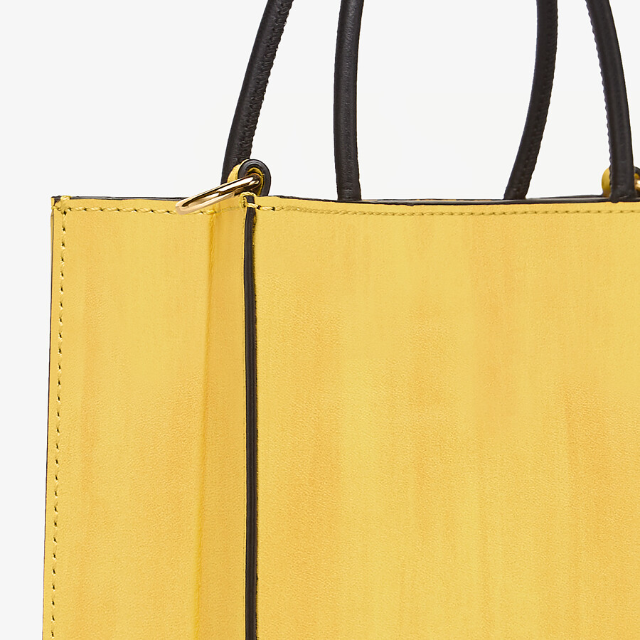 FENDI FENDI PACK SMALL SHOPPING BAG - Yellow leather bag - view 5 detail
