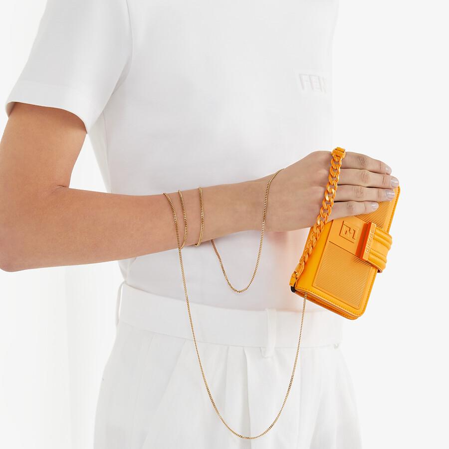 FENDI SMARTPHONE CASE - Orange nappa leather case - view 4 detail