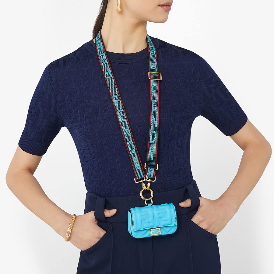 FENDI NANO BAGUETTE CHARM - Light blue nappa leather - view 2 detail