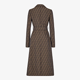 FENDI OVERCOAT - Brown canvas trench coat - view 2 thumbnail