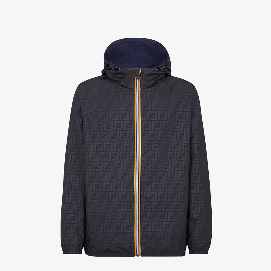 FENDI WINDBREAKER - Blue nylon FENDI x K-Way® jacket - view 4 detail