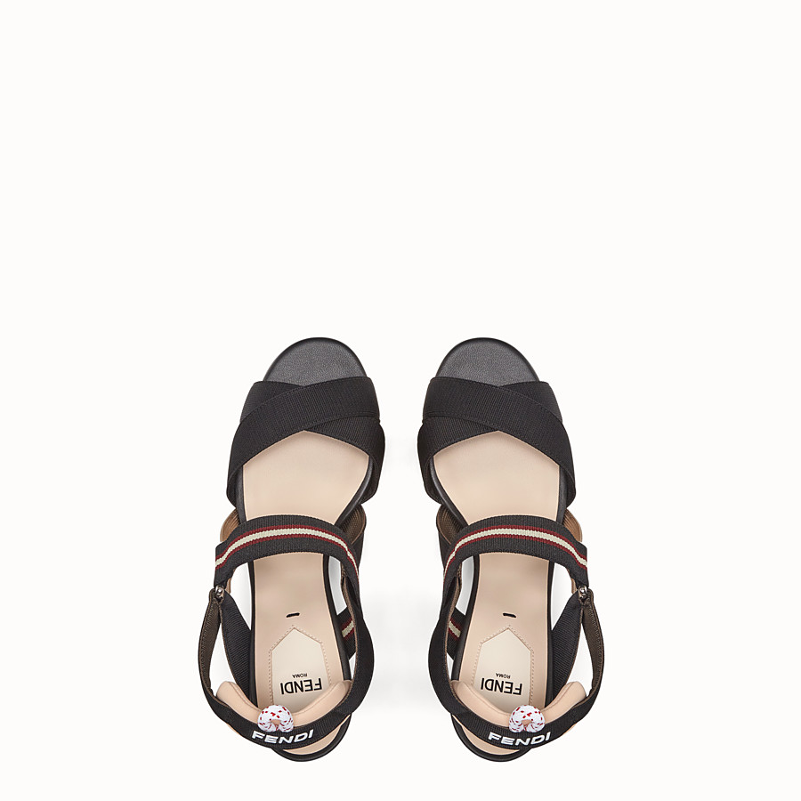 FENDI SANDALS - Black tech fabric sandals - view 4 detail