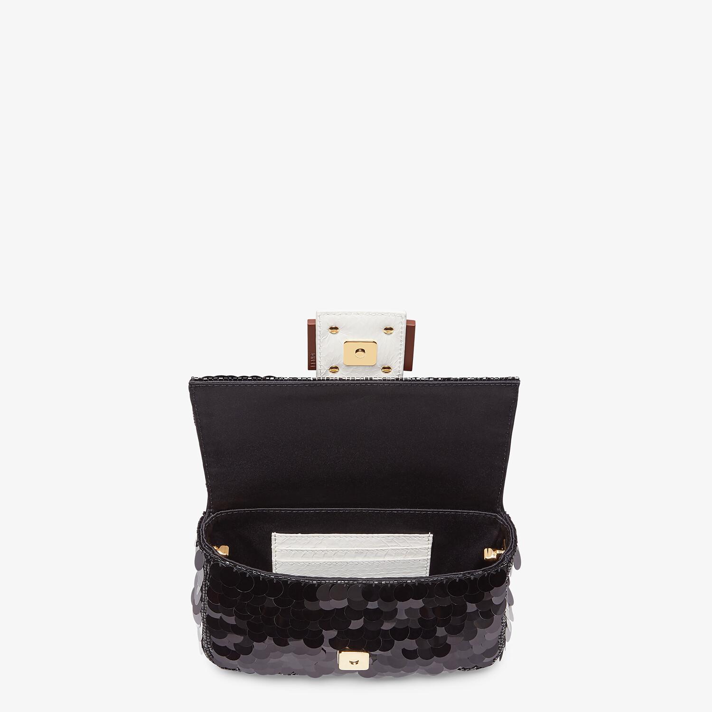 FENDI MINI BAGUETTE 1997 - Black satin bag with sequins - view 4 detail