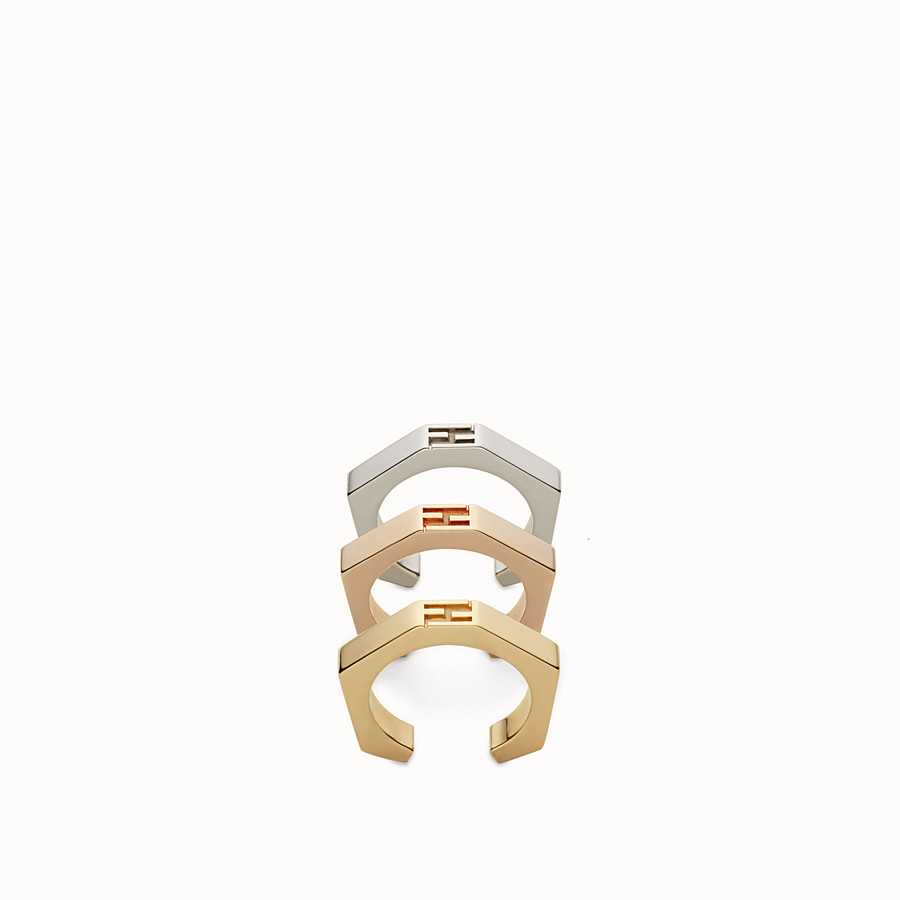 FENDI BAGUETTE RINGS - Three rings with a gold and palladium finish - view 1 detail