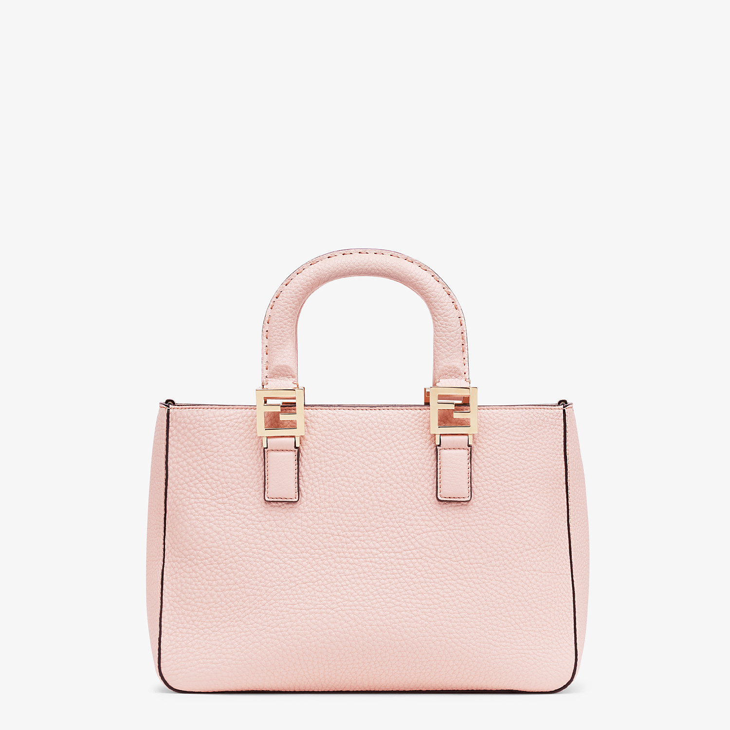 FENDI SMALL FF TOTE - Pink leather bag - view 4 detail
