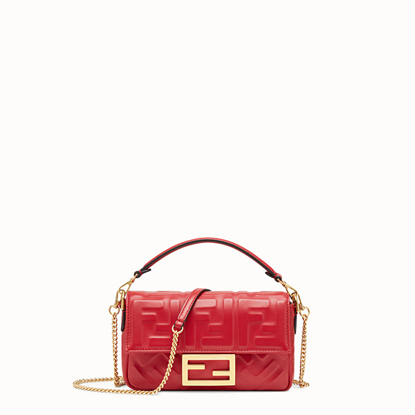 FENDI MINI BAGUETTE - Red leather bag - view 1 small thumbnail