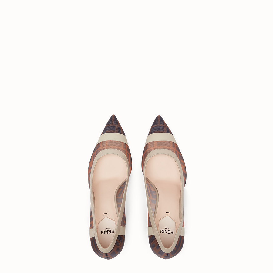 FENDI COURT SHOES - Court shoes in mesh and brown leather - view 4 detail