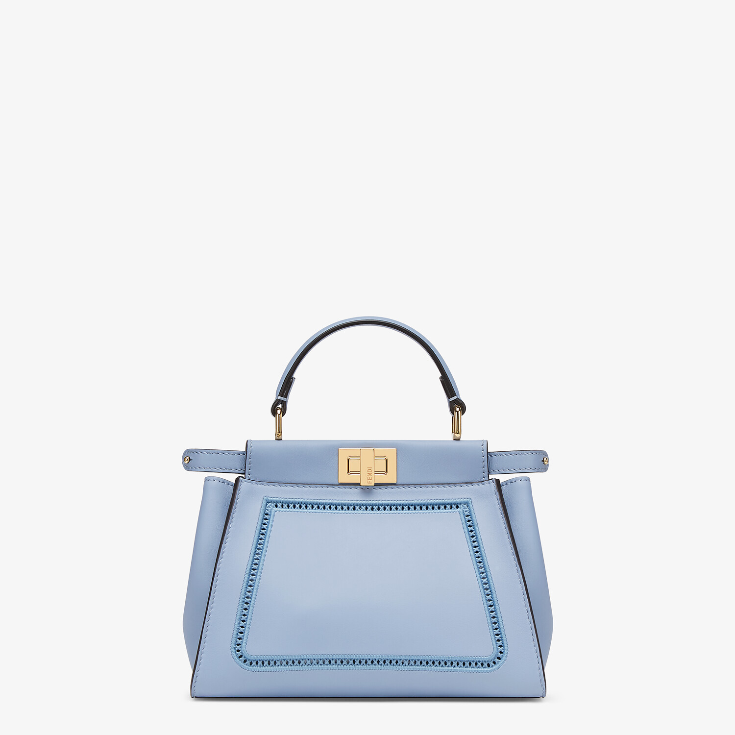 FENDI PEEKABOO ICONIC MINI - Light blue leather bag with embroidery - view 1 detail
