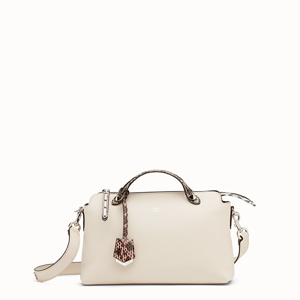 FENDI BY THE WAY REGULAR - White leather Boston bag with exotic details - view 1 small thumbnail