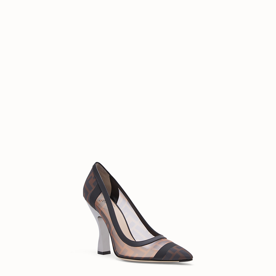 FENDI COURT SHOES - Mesh and black leather court shoes - view 2 detail
