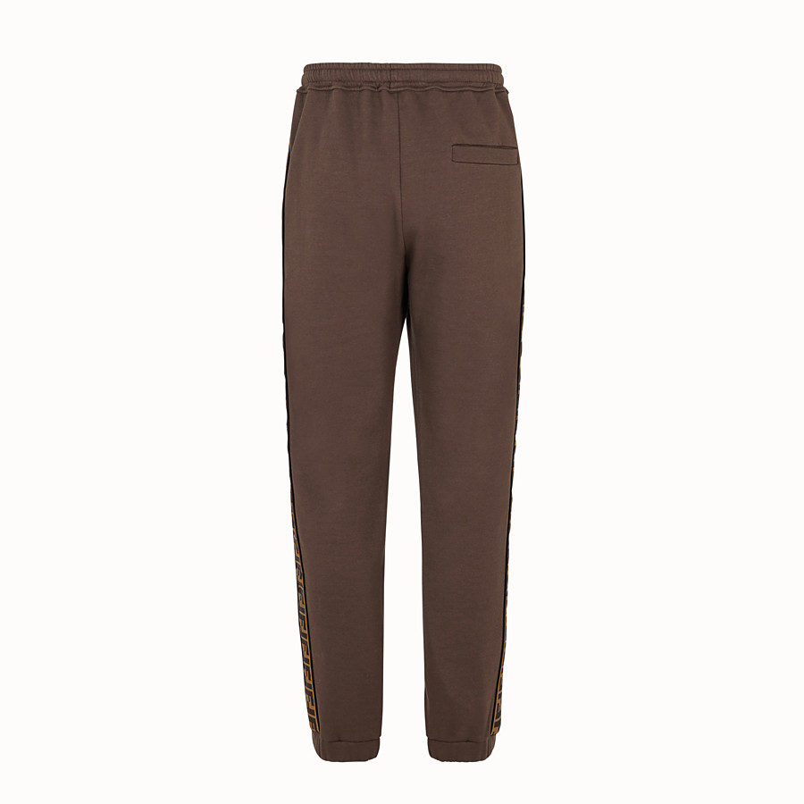 FENDI TROUSERS - Brown cotton trousers - view 2 detail