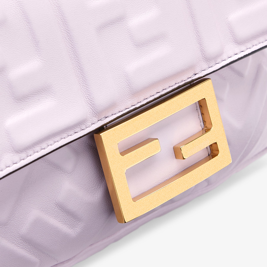 FENDI BAGUETTE - Lilac nappa leather FF Signature bag - view 6 detail