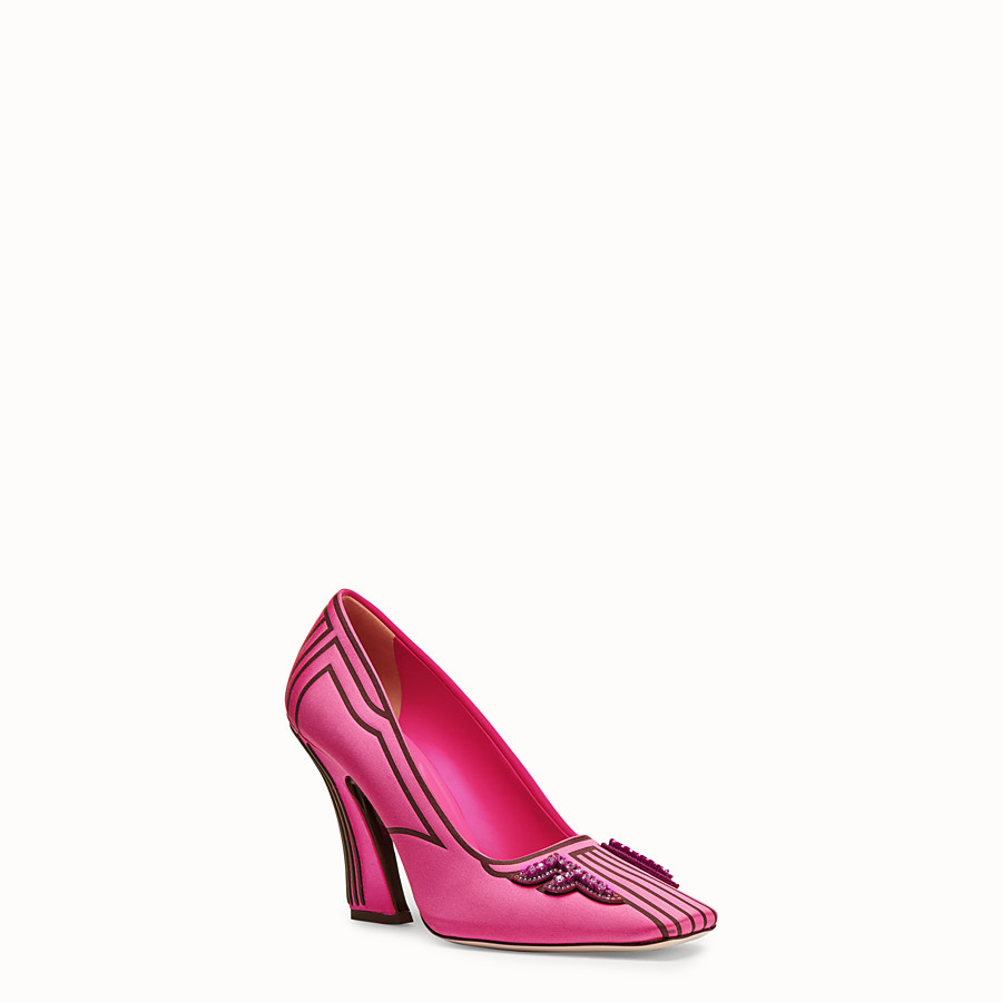 FENDI COURT SHOES - Court shoes in fuchsia satin - view 2 detail