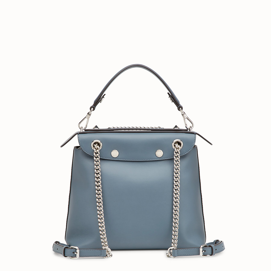 FENDI BACK TO SCHOOL BACKPACK - Small blue leather backpack - view 3 detail