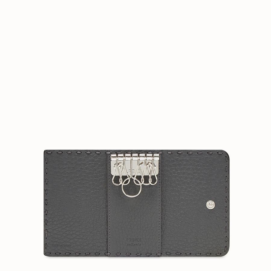 FENDI KEY RING - Grey Romano leather pouch - view 3 detail