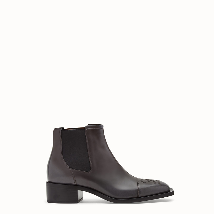 FENDI ANKLE BOOTS - Grey leather ankle boots - view 1 detail