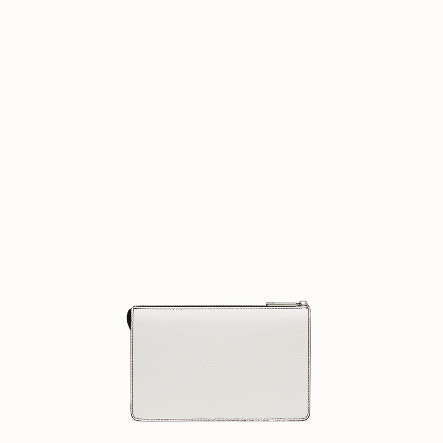 FENDI CLUTCH - White Romano leather pochette - view 3 detail