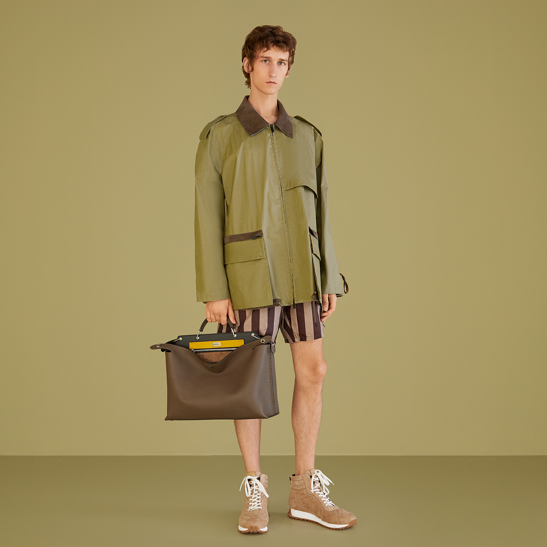 FENDI BLOUSON JACKET - Green cotton trench coat - view 5 detail