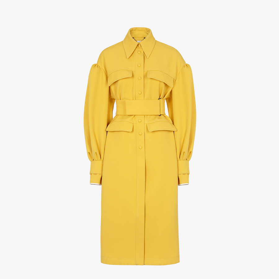 FENDI COAT - Yellow gabardine coat - view 1 detail